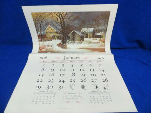 1956 Travelers Currier & Ives Calendar Complete