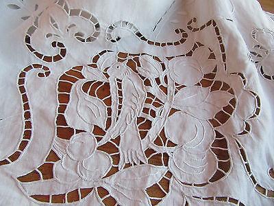 Vintage Huge Banquet Linen Tablecloth Pierced Embroidered Figural Birds Fruit