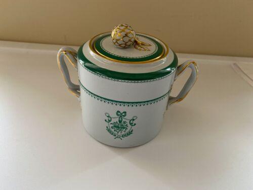 Copeland SPODE England GREEN Newburyport Sugar Bowl Dish w Lid