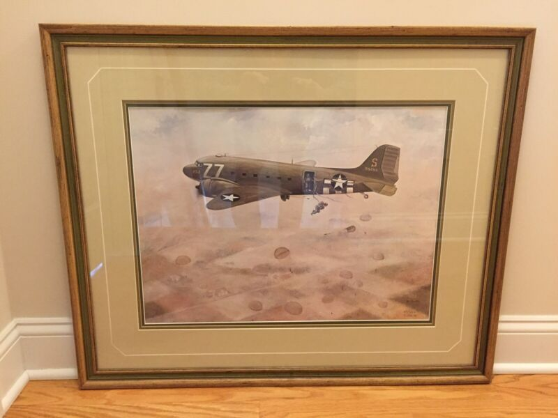 WW2 Airborne Paratrooper Framed Air Assault Print,By C. Smith.