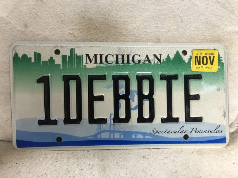 """2014 Michigan Vanity License Plate """"1DEBBIE"""""""