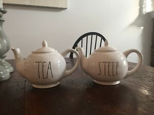 Rae Dunn STEEP and TEA teapots