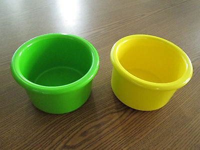 "Crock style bird or pet water/food plastic dish 16"" oz.bowl set of two USA"