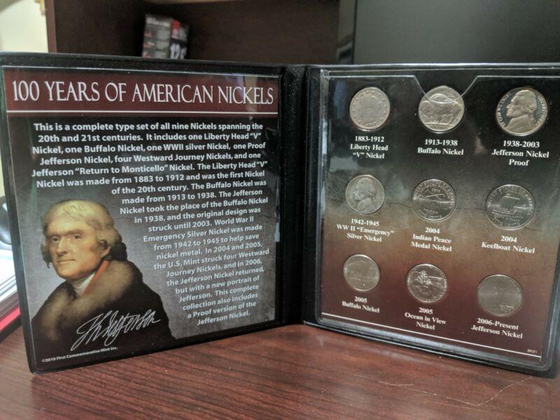 100 Years Of American Nickels, Liberty, Buffalo, WWII Silver & Jefferson Nickels