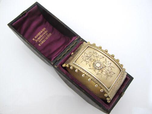 Gorgeous Victorian silver-gilt cuff bangle in original box c 1880