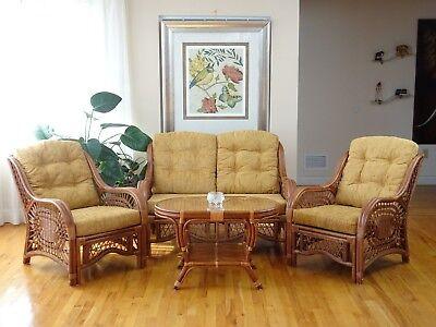 Living Malibu Set of 2 Lounge Chairs Loveseat Coffee Table w/Glass Rattan,Cognac Dining Room Set Loveseat