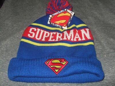 Adult DC Comics Superman Logo Man Of Steel Knit Pom Beanie Stocking Cap Ski Hat](Superman Beanie)