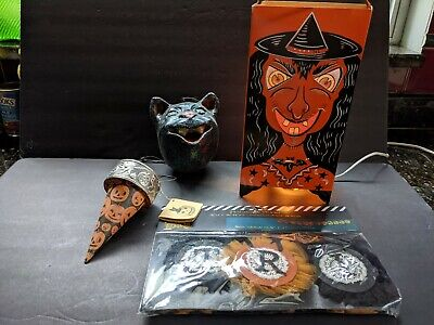 Vintage Like Halloween Decorations Lighted Devil, Black Cat, Garland