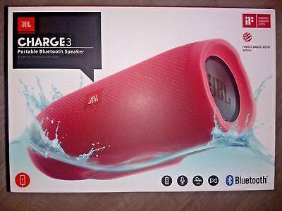 JBL MAIN-12348 Charge 3 Waterproof Portable Bluetooth Speaker Red