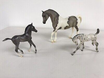 Breyer Horses, set of 3 black, gray, white; 2 small, 1 large