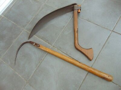 ANTIQUE FRENCH PRIMITIVE AGRICULTURAL FARM TOOLS HAINAULT SCYTHE SICKLE & HOOK