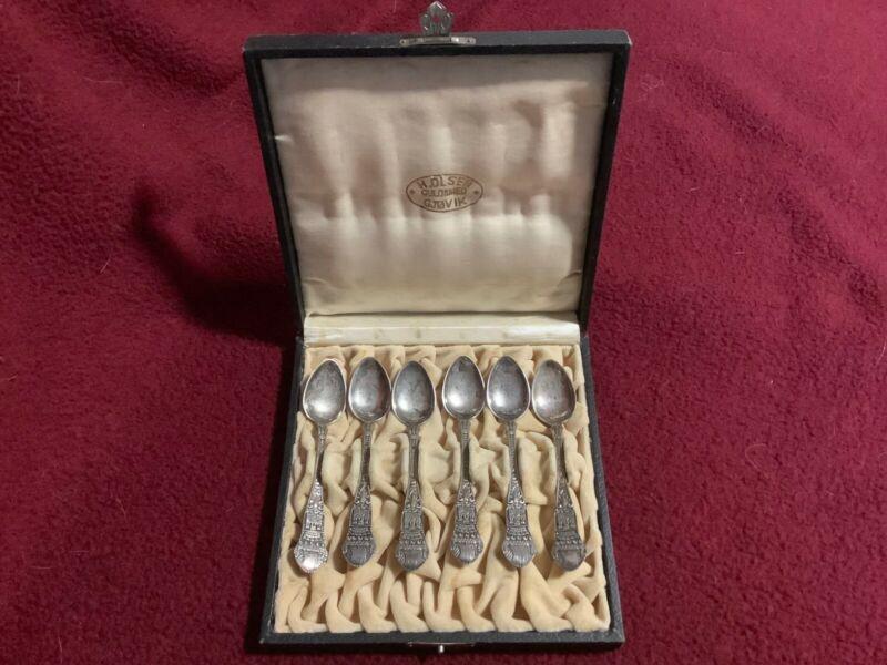 Boxed Set of 6 Vintage Bergen Brodrene Lohne 830S Silver Norway Demitasse Spoons