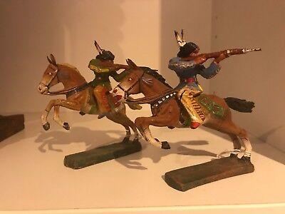 Elastolin 2x Indianer mit Gewehr auf Pferd