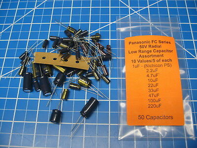 50v - Panasonic Fc Series - Electrolytic Capacitor Kit - 10 Values 1-220uf