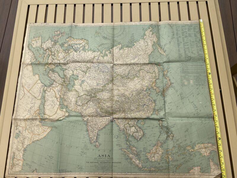 1933 LINEN-BACKED ASIA & ADJACENT REGIONS MAP National Geographic vintage linen