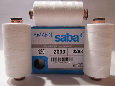 (0,28 €/100m)    5 x 1000 m Amann / Saba Nähgarne Stärke 120 Farbe : Weiß   2000