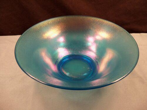 "Vintage Blue Iridescent Stretch Glass Bowl 9 7/8"" Wide"