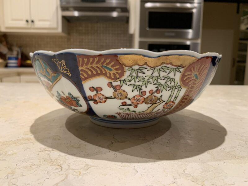 "Vintage, Japanese, Gold Imari, Hand Painted, Scalloped Rim Bowl, 8.75"" Diameter"