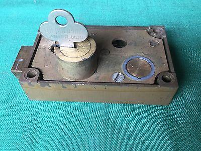 Diebold Safety Deposit Box Lock Single Nose Guard Key Req. Bronze Case Locksmith