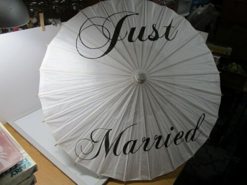 """Just Married""  Japanese Wedding Parasol Umbrella Decoration 30"" Circumference"