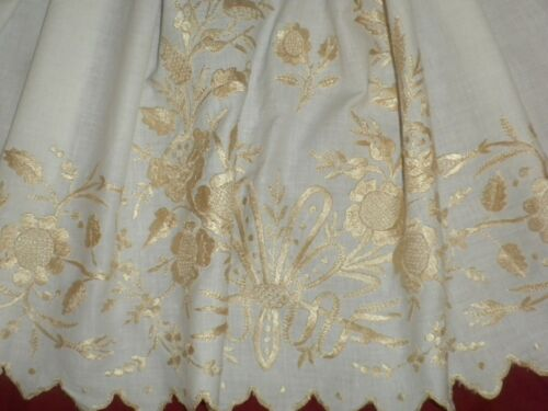 Antique&Vintage Handmade Long Cotton Embroidered Curtain Hungarian KALOCSA??