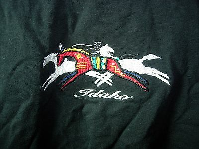 Womens Black White Red Idaho Horse Casual Comfort Cotton Top T Shirt Size S 38