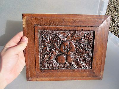 Vintage Wooden Panel Plaque Architectural Antique Fruit leaves Leaf Old Wood