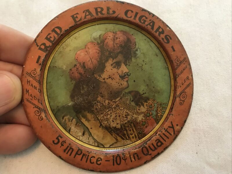 RED EARL CIGARS Vintage tin tip tray