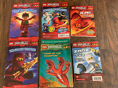 6 Lego Ninjago books:  Kai, Zane, Way of the Ninja, Golden Weapons etc