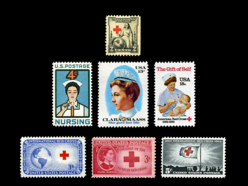 89 Years of Nursing & Red Cross Set Mint Vintage US Postage Stamps 1931 - 1981