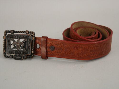 Rare Vintage Shikellamy Boy Scout Reservation Leather Fleur de Lis Belt & Buckle