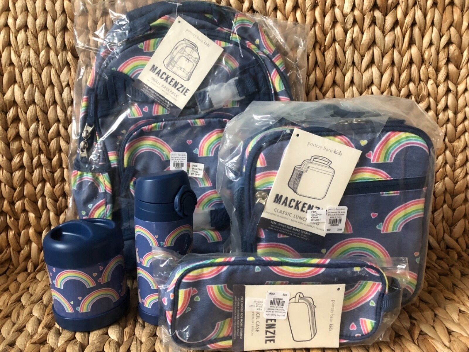 Pottery Barn Kids RAINBOW SMALL BACKPACK Water Bottle Lunch