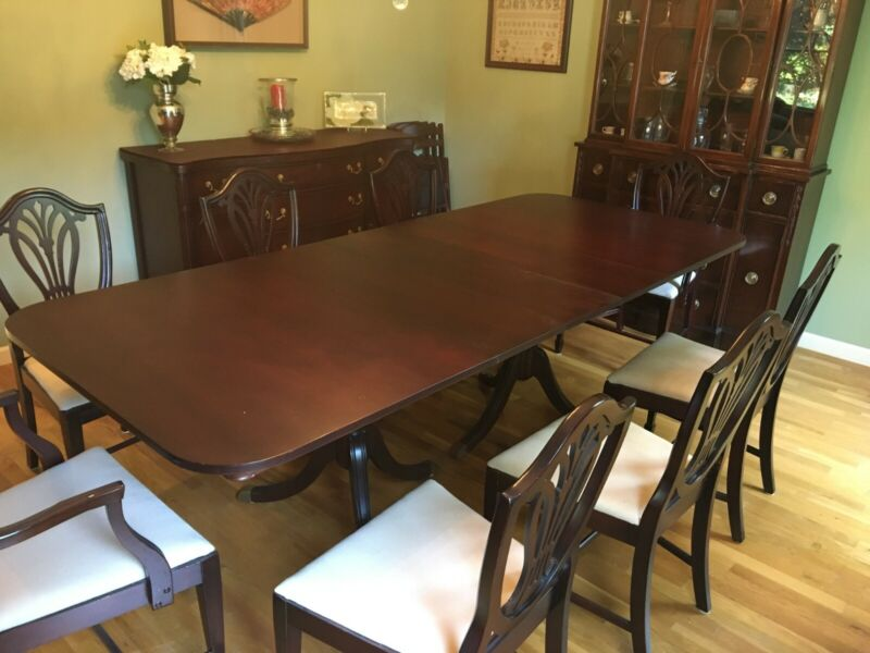 Antique Mahogany Dining Room Set - Table/8 chairs, china cabinet, buffet table
