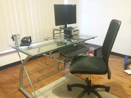 Glass top desk for home or office with ergonomic chair Castle Cove Willoughby Area Preview