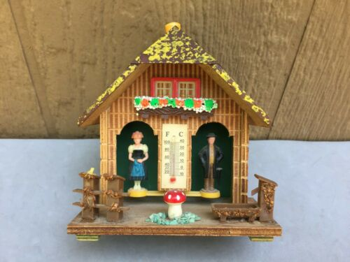 Western Germany Barometer House Vintage Weather Chalet Plastic Folk Figure 5 3/4
