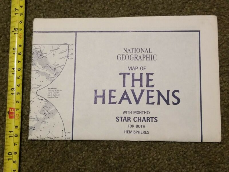 HEAVENS NATIONAL GEOGRAPHIC MAP PLANETS NORTHERN SOUTHERN SKY CONSTELLATIONS #2