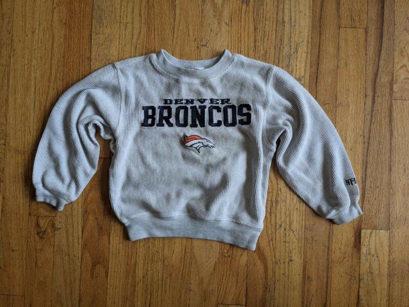 Vintage NFL Denver Broncos Gray Thermal Ribbed Sweatshirt Shirt Size 5 6