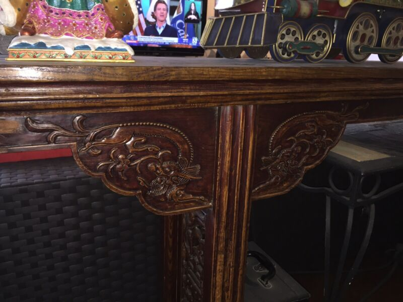Vintage Antique Chinese Altar Extra Long Carved Wood Table
