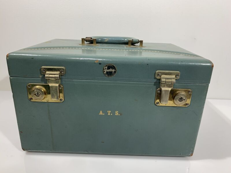 Vintage Shortrip Train Case Cosmetic Luggage Green Shortrip Leather