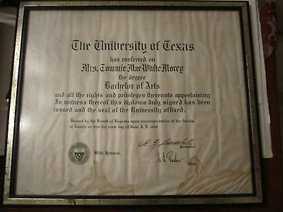 1930 University Of Texas Bachelor Of Arts Degree With Honors   Framed  17  X 14
