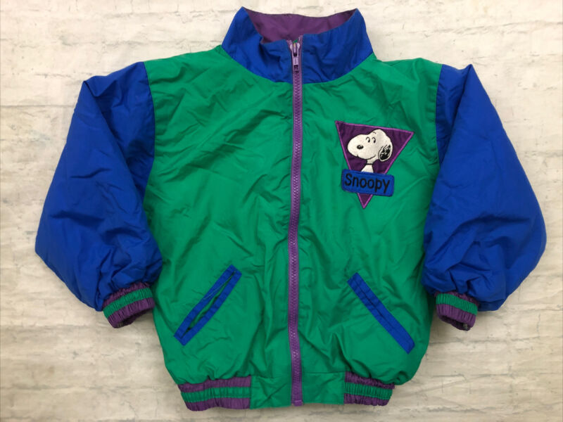 Vtg PEANUTS COLLECTION Quilted Lined Snoopy Colorblock Jacket Coat Size 4T