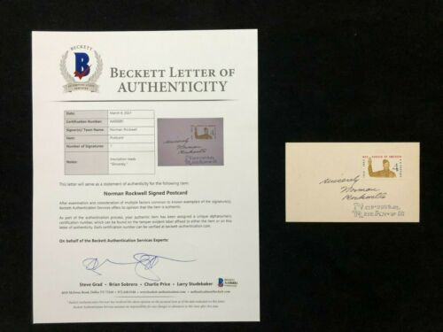 Norman Rockwell Signed Boy Scouts Stamp Postcard BAS BECKETT LOA