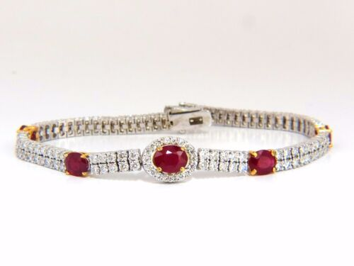 7.34ct Natural Ruby Diamonds Bracelet Regency Deco 14kt Double Row Cluster+