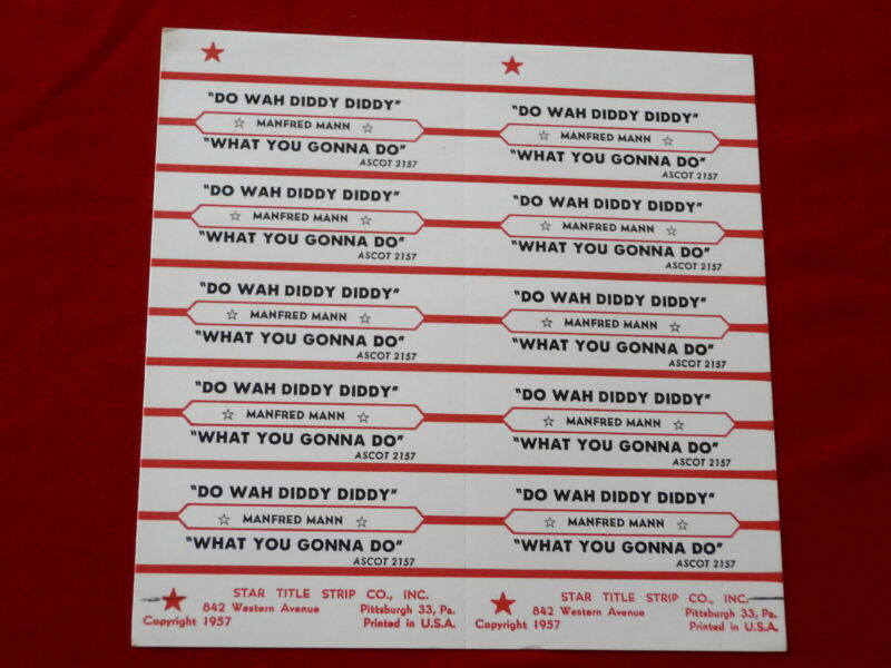 MANFRED MANN~ DO WAH DIDDY DIDDY~ WHAT YOU GONNA DO~ ~ JUKEBOX  TITLE STRIPS