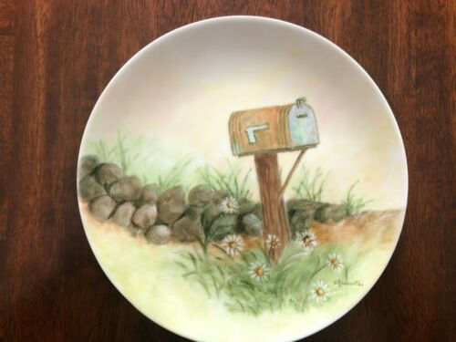 """Hand Painted Mailbox in Meadow 7"""" Plate Signed by E. Abernathy"""