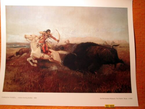 1894 INDIAN HUNTING BUFFALO by Charles Russell Quality PRINT from Museum