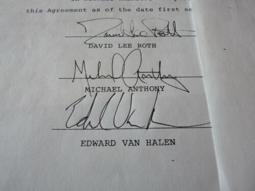 Van Halen All 5 ORIGINAL 1979 Lawsuit Release Contract Signed BAS Certified