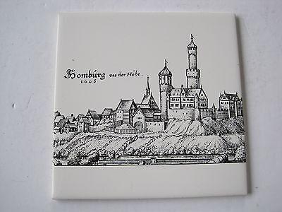 VINTAGE ROYAL PORZELLAN BAVARIA KM GERMANY TILE - HOMBURG VON DER HOHE 1605