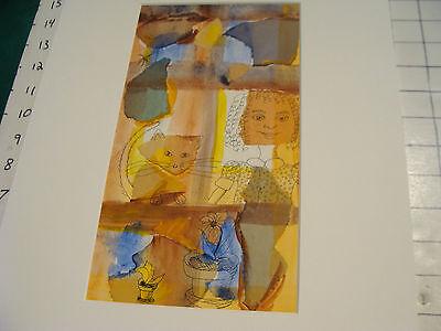 vintage MIXED MEDIA, cut paper & drawing, matted: Sandy Eastoak, OPEN WINDOW W