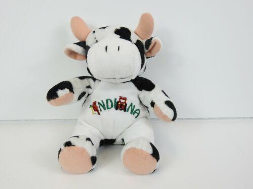 "Souvies 2002 Indiana Black & White Cow w/ Cardinal & Tractor Logo Plush 8"" Tall"